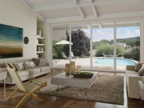 modern pool living room